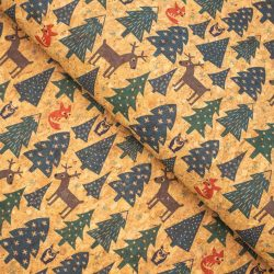 Christmas pattern Cork Fabric
