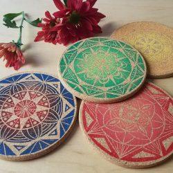 Colorful Mandala Coaster Set