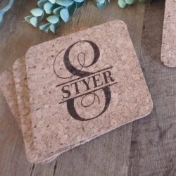 Cork Coasters personalized , Engraved cork coasters