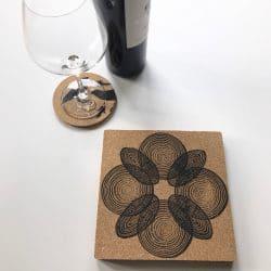 Cork Trivet in Geometric Print