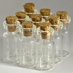 Empty Clear Glass Bottles With Corks.. Small Jars