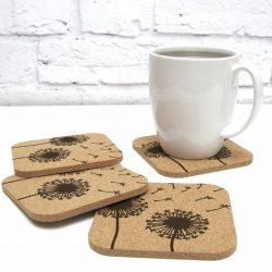 Flower Floral Design Cork Coasters