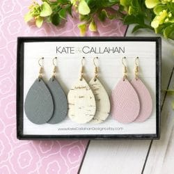 Genuine Cork and Leather Earrings Braided Leather