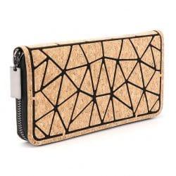 Geometric Cork Zipper Wallet