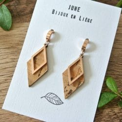 Gold pink stainless steel earrings and natural cork leather