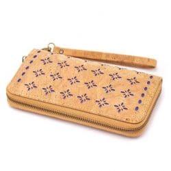 Natural cork Laser cute style women zipper card vegan wallet