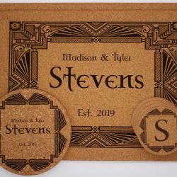 Personalized Art Deco Style cork placemat