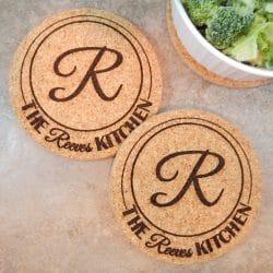 Sets Personalized Kitchen Cork Hot Pads Trivets