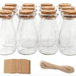 Small Glass Favor Jars Milk Glass Bottles Cork Lids Party Favors