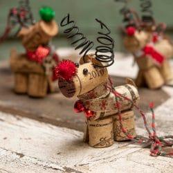 Wine cork Reindeer Ornament