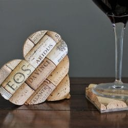 heart shaped wine cork coasters